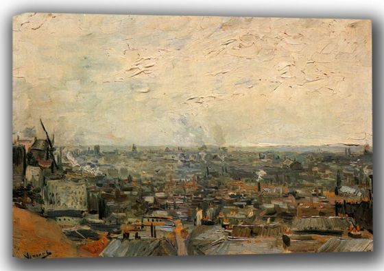 Van Gogh, Vincent: View Of Paris From Montmartre. Fine Art Canvas. Sizes: A4/A3/A2/A1 (001774)